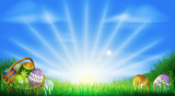 Easter eggs field background