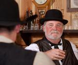 Happy Western Saloon Bartender poster