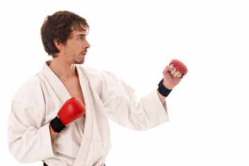 Karate male fighter young isolated on white back