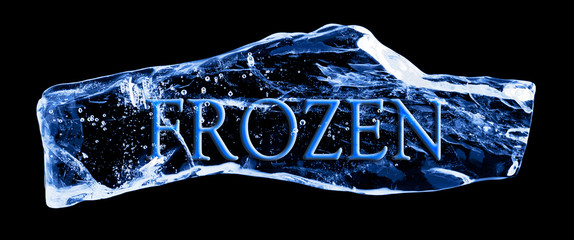 Word FROZEN frozen in the ice on a black background