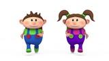 cute school kids running - back to school concept