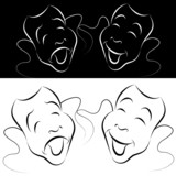 Drama Mask Line Art Set poster