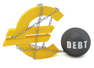 Euro sign connected in a chain of debt