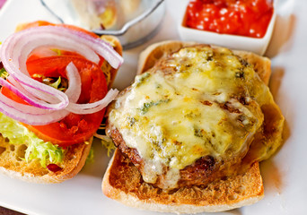 Cheeseburger and salad