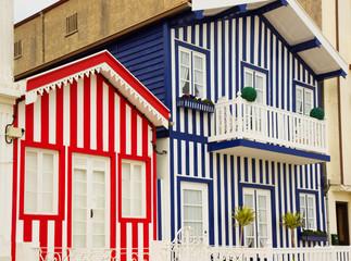 houses of Costa Nova, Aveiro, Portugal