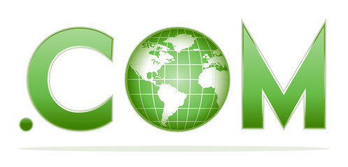 globe with dot com in green colors