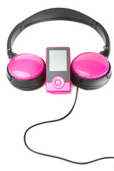headphones and media player