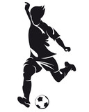 Fototapety Vector football (soccer) player silhouette with ball isolated