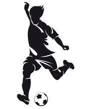 Piłka nożna wektorowe (soccer) sylwetka gracza z kulowym odizolowanych