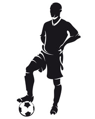 ector football (soccer) player silhouette with ball isolated