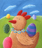 Ginger Hen and Easter Eggs
