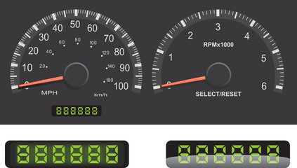 Speedometer and Tachometer Dash Gages