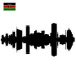 Vector Nairobi silhouette skyline with Kenyan Flag