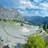 Theater and ruins of the Apollo Temple in Delphi, Greece