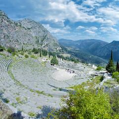 Theater and ruins of the Apollo Temple in Delphi, Greece