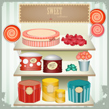 vintage postcard - shop sweets,  confectionery poster
