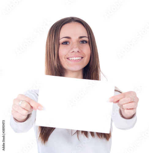 young  woman showing blank signboards