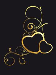 Schwarze Herzen mit Gold