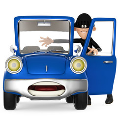 thief stealing a car cartoon