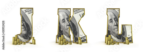 Money alphabet letters J K L
