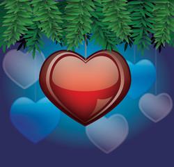 Сердце с еловыми ветками