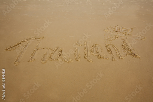 The Word Thailand Written In Sand