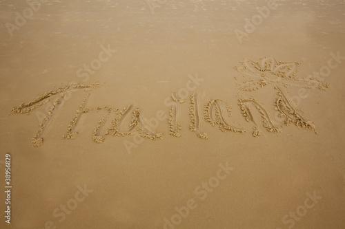 The Word Thailand Written In Sand