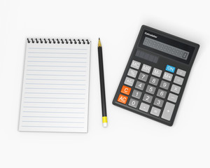 Calculator and notebook with pencil 2