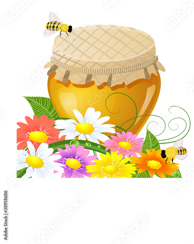 floral design with a jar the sweet honey