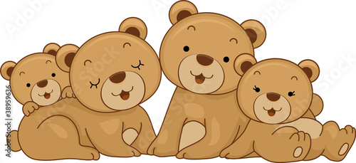Deurstickers Beren Bear Family