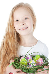 Beautiful little girl with a basket of eggs