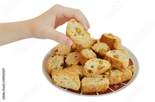 child hand take a cookie