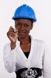 Copyspace image of woman with hard-hat making a drawing..