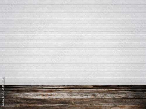 raum mit holzfu boden und ziegelwand wei von mekcar lizenzfreies foto 38964035 auf. Black Bedroom Furniture Sets. Home Design Ideas