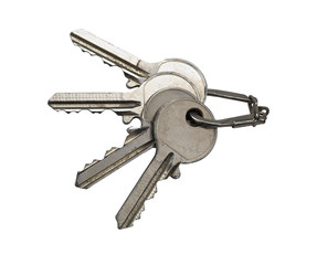 Several old rusty keys on ring (clipping path)