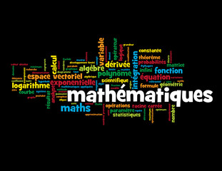 """Nuage de Tags """"MATHEMATIQUES"""" (maths algèbre équations formules)"""