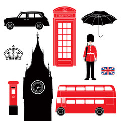 UK - London symbols-icons-silhouette-stencil -very detailed