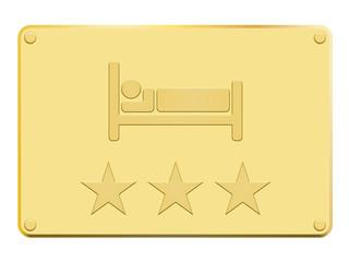 Plaque en or hôtel 3 étoiles