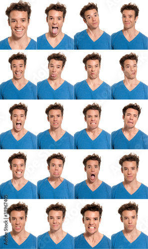Young man face expressions composite isolated on white back