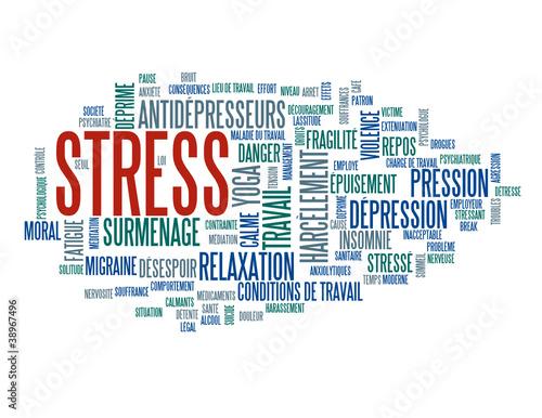 """Nuage de Tags """"STRESS"""" (santé dépression surmenage travail yoga)"""