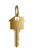 Golden key to a dream house isolated on white background