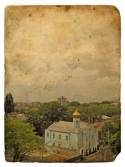Urban landscape. Old postcard