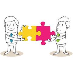 Geschäftsmann, Puzzleteile, Teamwork 2