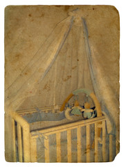 Crib. Old postcard.