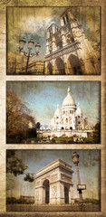 Collage monuments Paris vintage