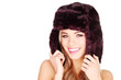 Happy Woman In Winter Fur Hat
