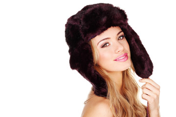 Pretty Young Girl In Fur Hat
