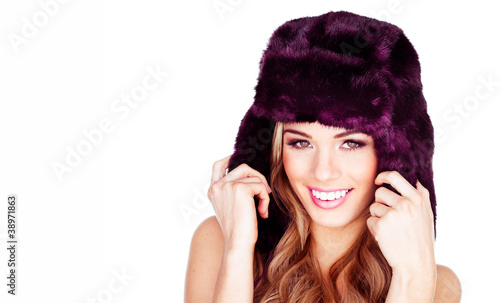 Pretty blonde with fur hat