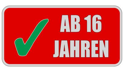 CB-Sticker rot eckig oc AB 16 JAHREN