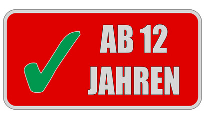 CB-Sticker rot eckig oc AB 12 JAHREN